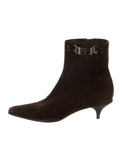 Prada Suede Square-Toe Ankle Boots Brown