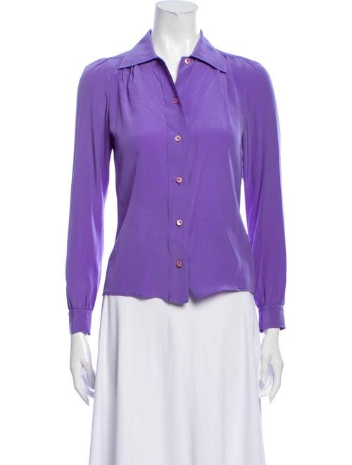 Prada Silk Long Sleeve Button-Up Top Purple