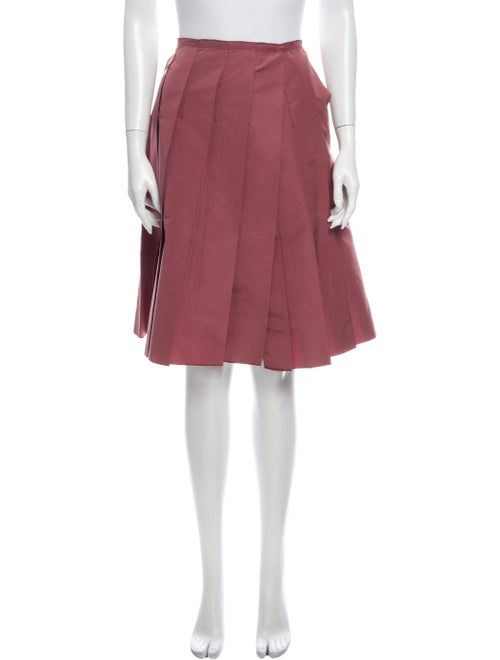 Prada Pleated Accents Knee-Length Skirt Red