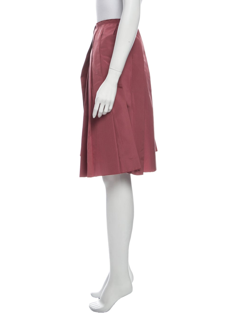 Prada Pleated Accents Knee-Length Skirt Red - image 2