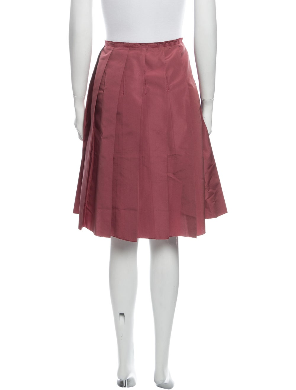 Prada Pleated Accents Knee-Length Skirt Red - image 3