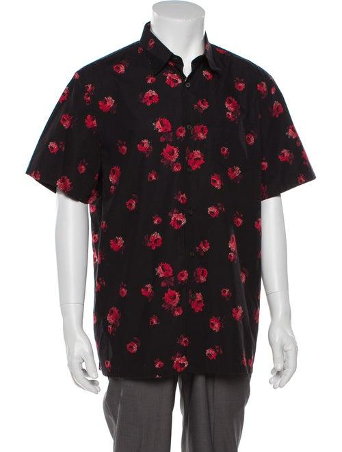 Prada Floral Button-Up Shirt black