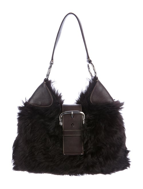 Prada Small Fur Hobo Black