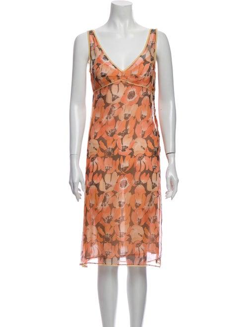 Prada Silk Floral Print Nightgown Pink