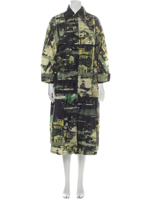 Prada Printed Trench Coat Green
