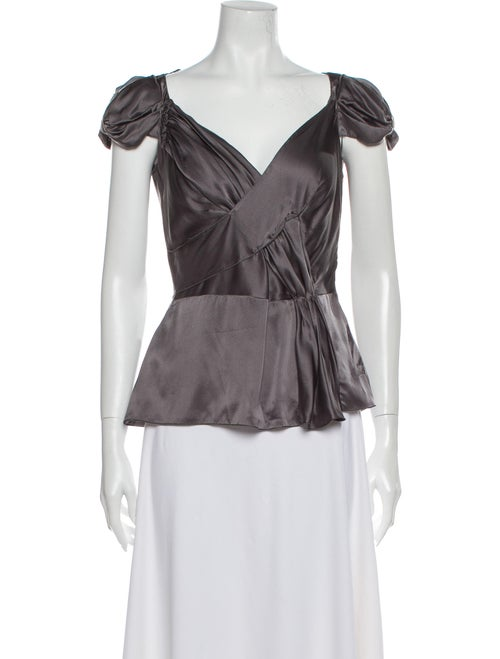 Prada Silk V-Neck Blouse Grey