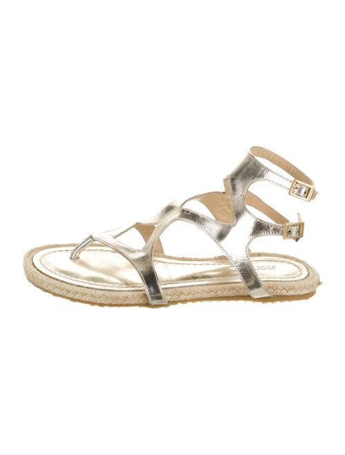 Prada Leather Gladiator Sandals Metallic