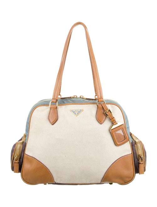 Prada Leather-Trimmed Shoulder Bag Natural