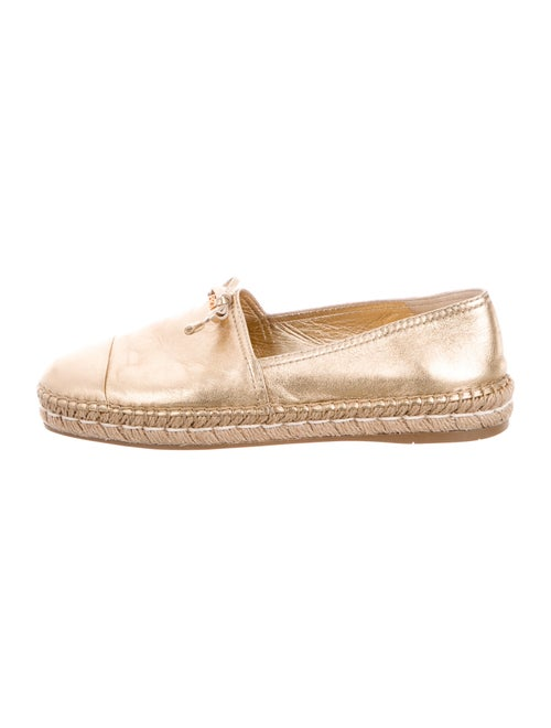Prada Leather Espadrilles Gold