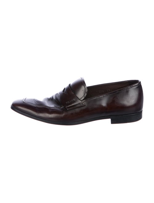 Prada Leather Dress Loafers Brown