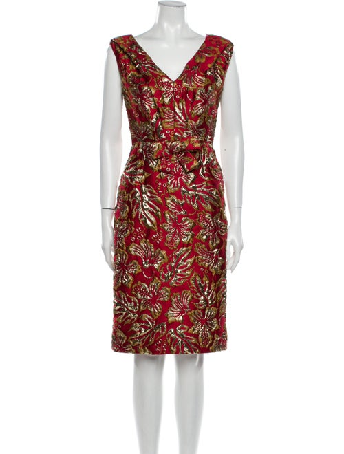 Prada Printed Knee-Length Dress Metallic