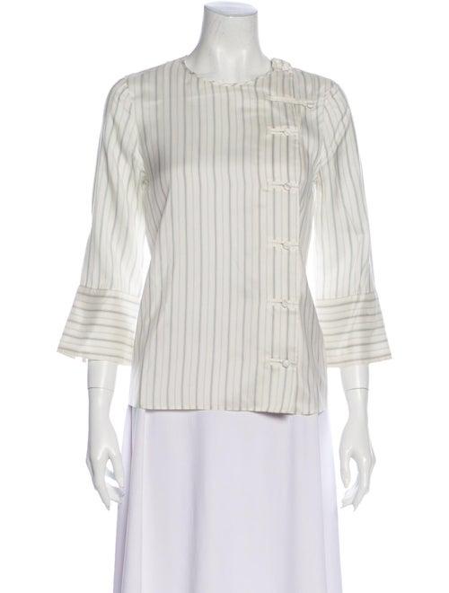 Prada 2015 Striped Blouse White