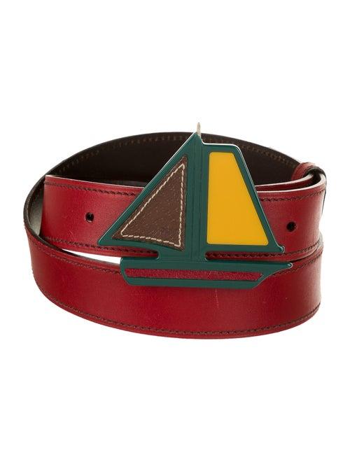 Prada Leather Buckle Belt Red