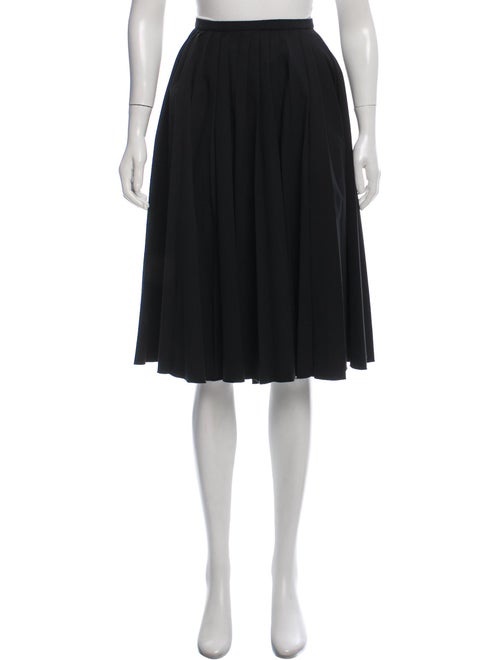 Prada Pleated Knee-Length Skirt Black
