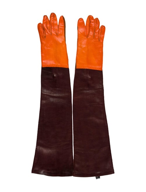 Prada Leather Colorblock Gloves Brown