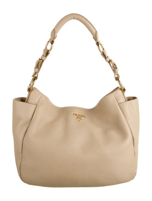 Prada Vitello Daino Hobo Tan