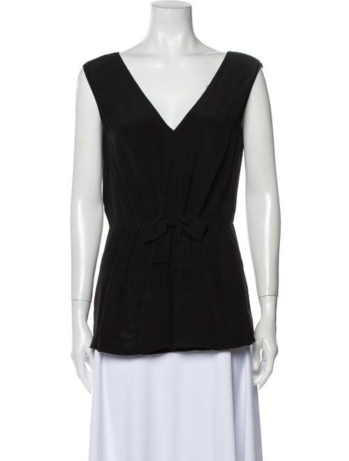 Prada Silk V-Neck Top Black