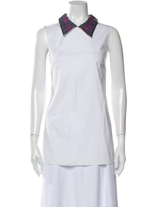 Prada 2011 V-Neck Top White