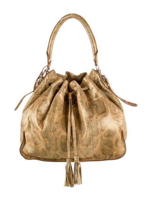 Prada Pitone Drawstring Bucket Bag Metallic