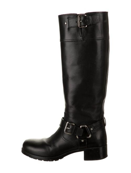 Prada Leather Moto Boots Black