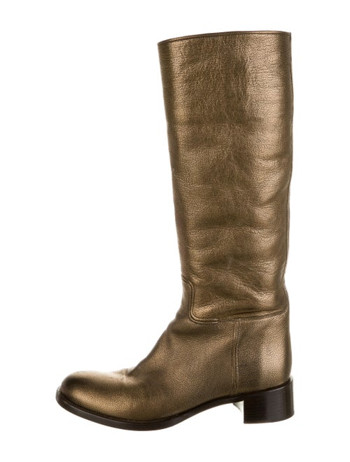 Prada Leather Riding Boots Gold