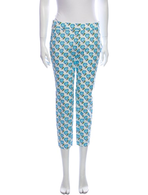 Prada Printed Straight Leg Pants Blue