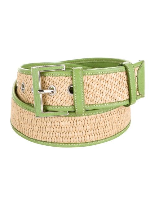 Prada Woven Leather Belt Green