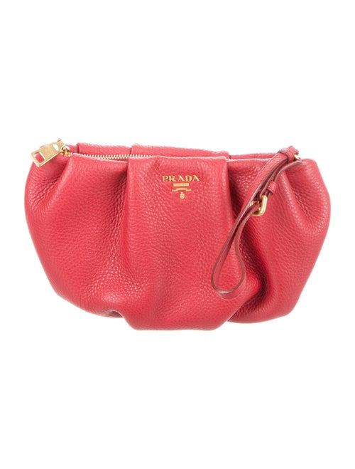 Prada Vitello Daino Wristlet Red