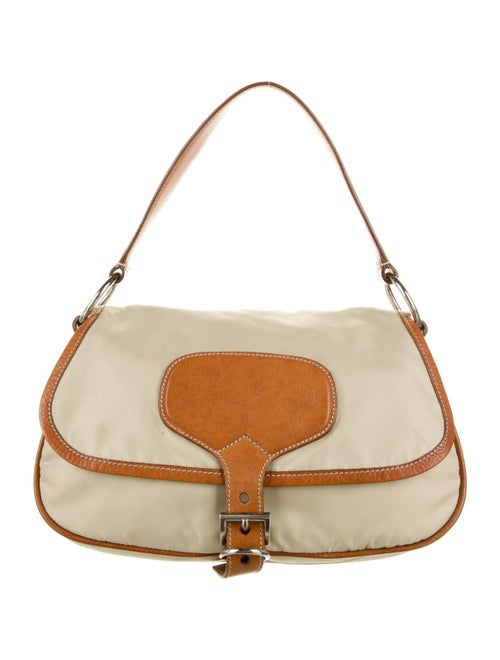 Prada Leather-Trimmed Tessuto Soft Hobo Beige