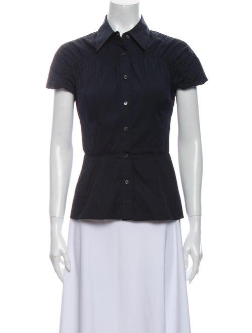 Prada Short Sleeve Button-Up Top Blue
