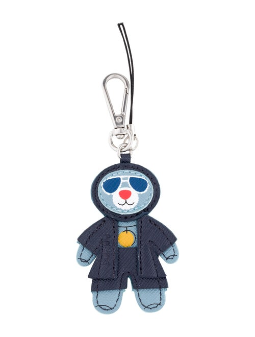 Prada Leather Teddy Bear Keychain navy