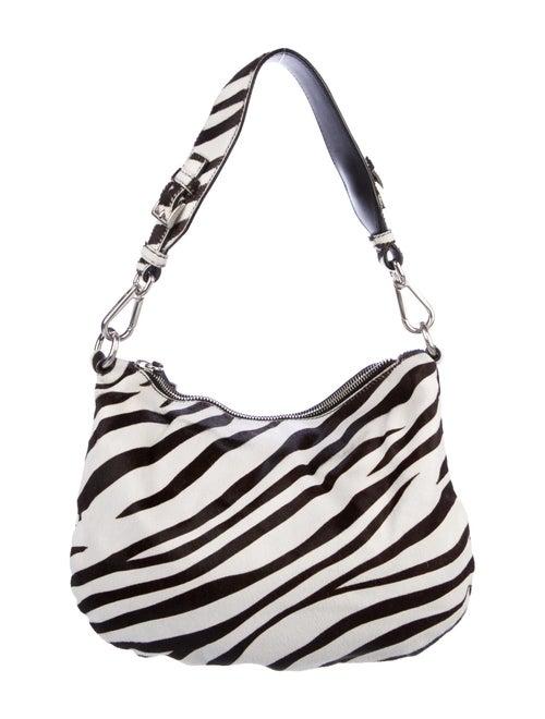 Prada Zebra-Print Cavallino Hobo Bianco