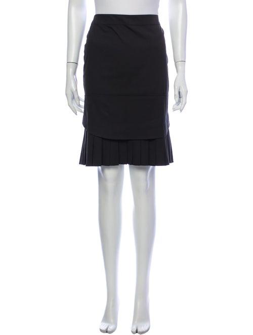 Prada Pleated Accents Knee-Length Skirt Black