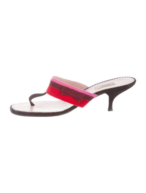 Prada Colorblock Pattern Sandals Black