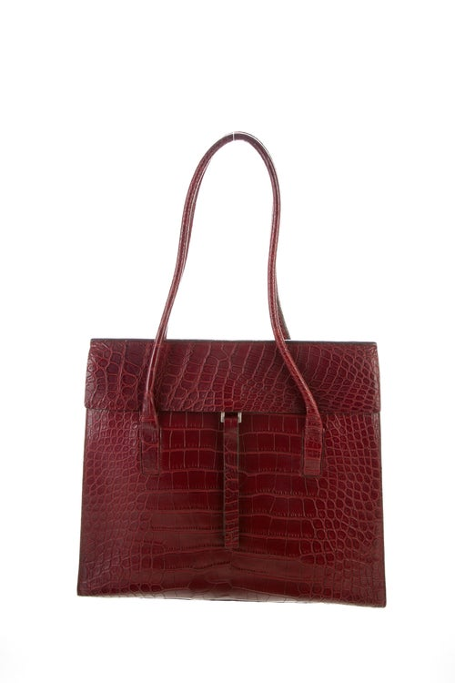 Prada Alligator Flap Bag silver
