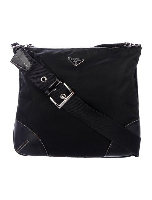 Prada Leather-Trimmed Nylon Messenger Bag Nero