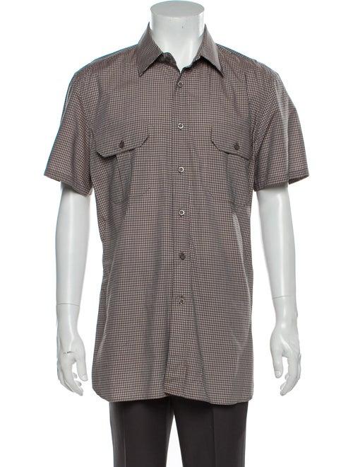 Prada Plaid Print Short Sleeve Shirt