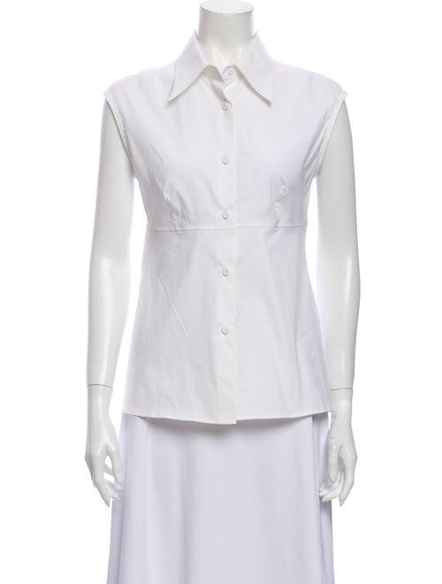 Prada Sleeveless Button-Up Top White