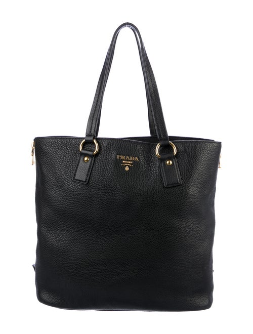 Prada Vitello Daino Side Zip Tote Nero