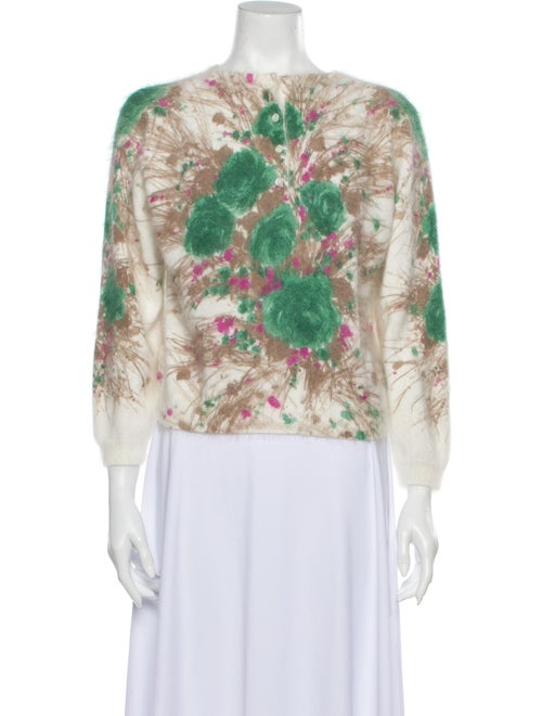 Prada Angora Printed Sweater Green