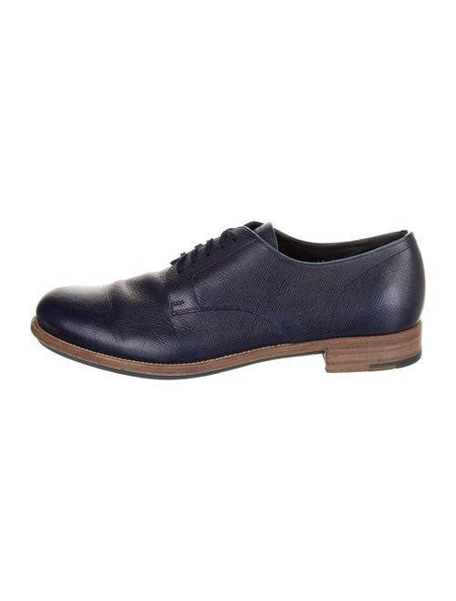 Prada Saffiano Leather Leather Derby Shoes Blue