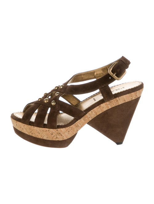 Prada Suede Slingback Sandals Brown