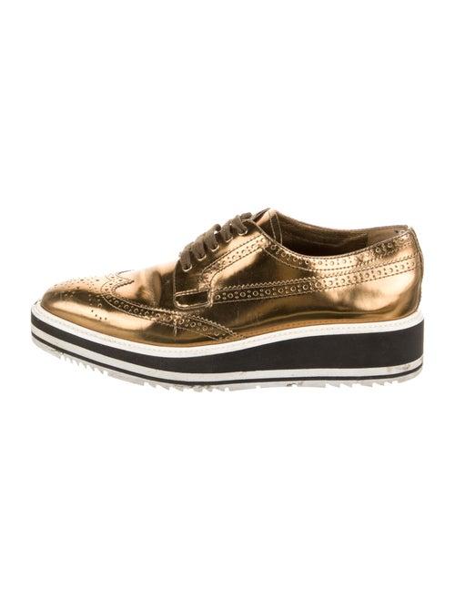 Prada Printed Wedge Sneakers Gold
