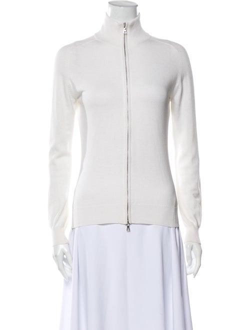 Prada Mock Neck Long Sleeve Top White