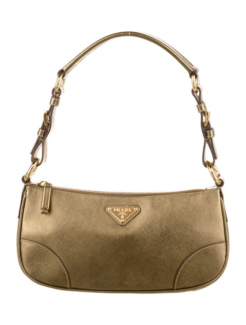 Prada Saffiano Metallic Shoulder Bag Metallic