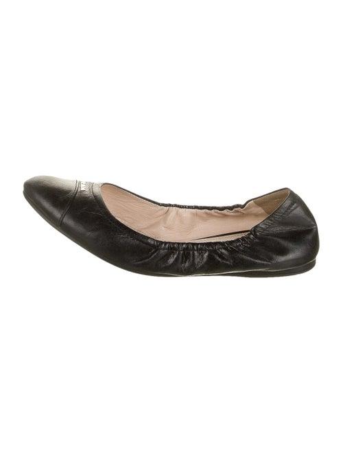 Prada Leather Ballet Flats Black