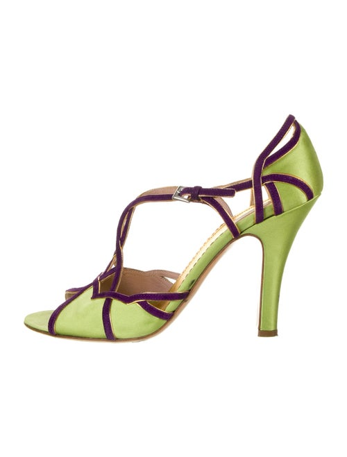 Prada Colorblock Pattern Sandals Green