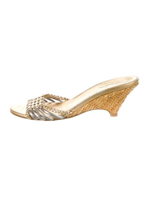 Prada Leather Slides Gold