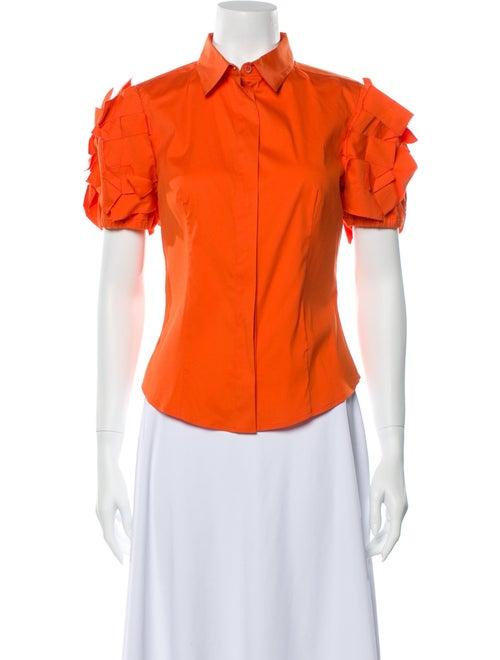 Prada Short Sleeve Button-Up Top Orange