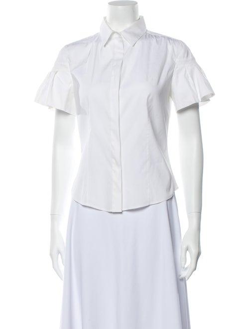 Prada Short Sleeve Button-Up Top White